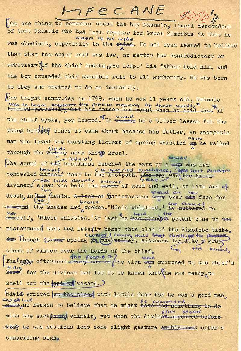 Errol Lincoln Uys typed rough draft for Mfecane pages (1)