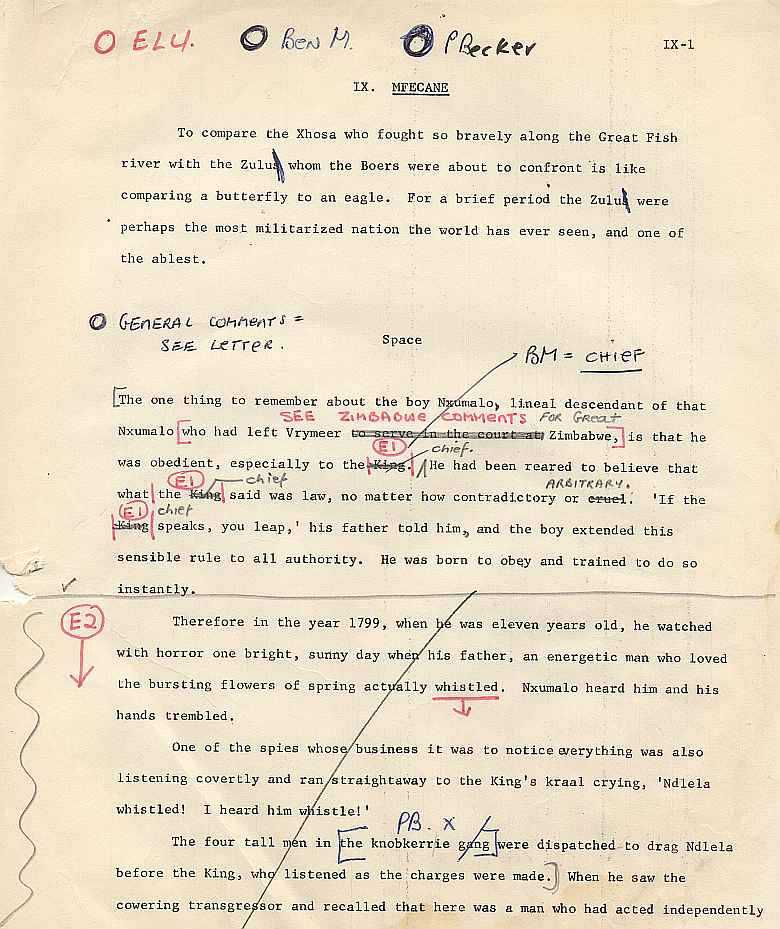 James A. Michener - The Covenant - Mfecane Draft page 1
