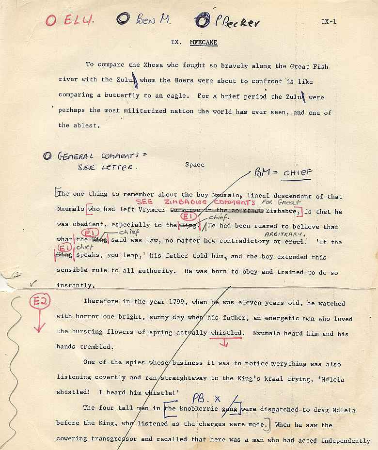 James A. Michener draft pages for The Mfecane chapter ( 1)