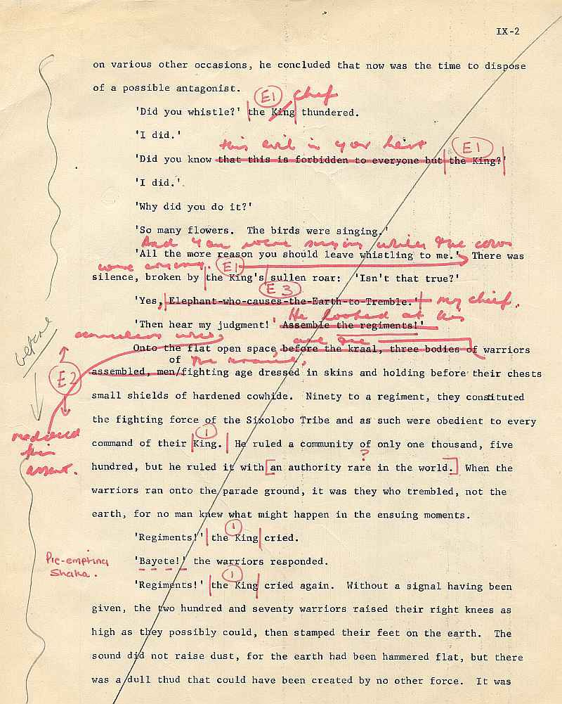 James A. Michener draft pages for The Mfecane chapter ( 2)