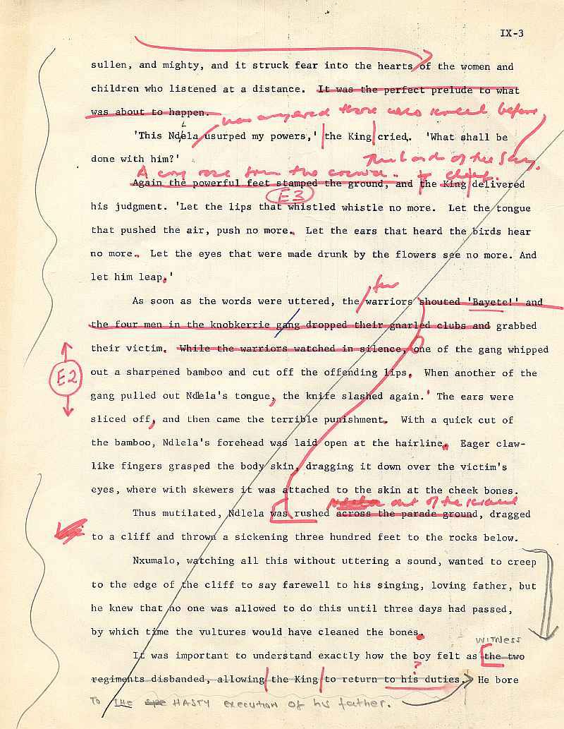 James A. Michener draft pages for The Mfecane chapter ( 3)