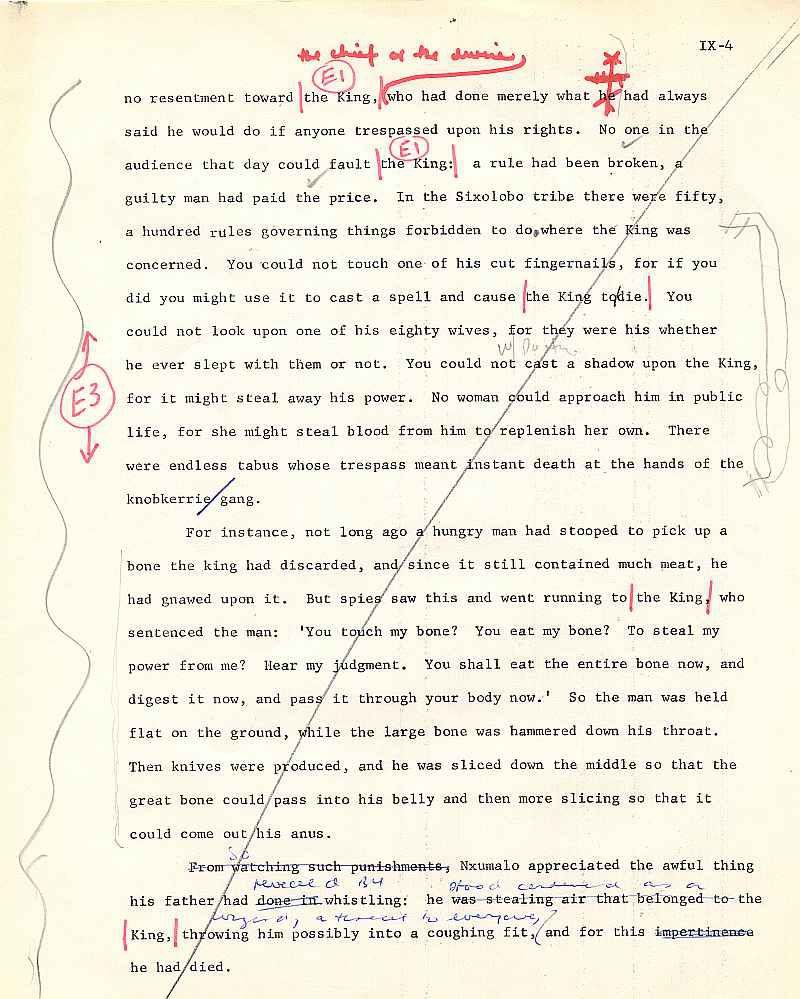 James A. Michener draft pages for The Mfecane chapter ( 4)