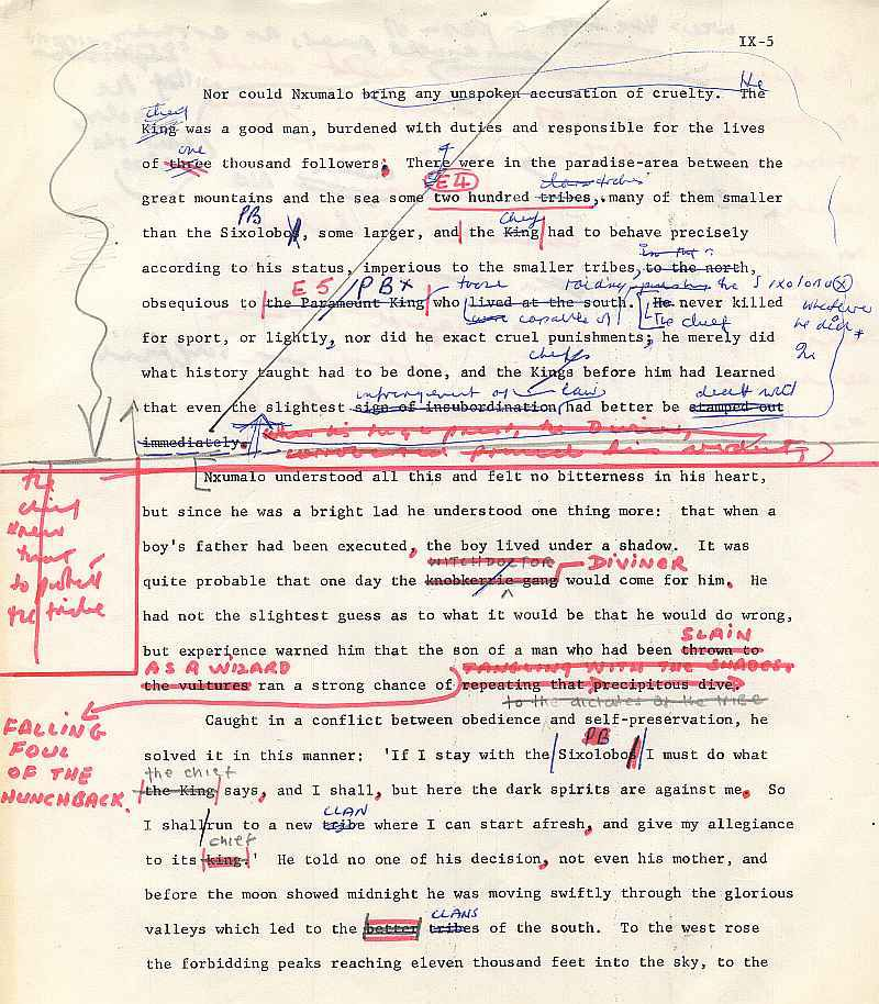 James A. Michener draft pages for The Mfecane chapter ( 5)