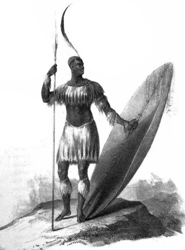 Sketch of King Shaka (1781 - 1828) from 1824. Attributed to James King,