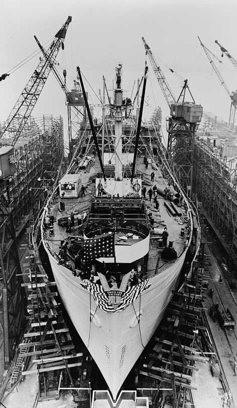 Bethlehem Fairfield shipyards, near Baltimore, Maryland. Construction of a Liberty ship. On the twenty-fourth day the ship is ready for launching.