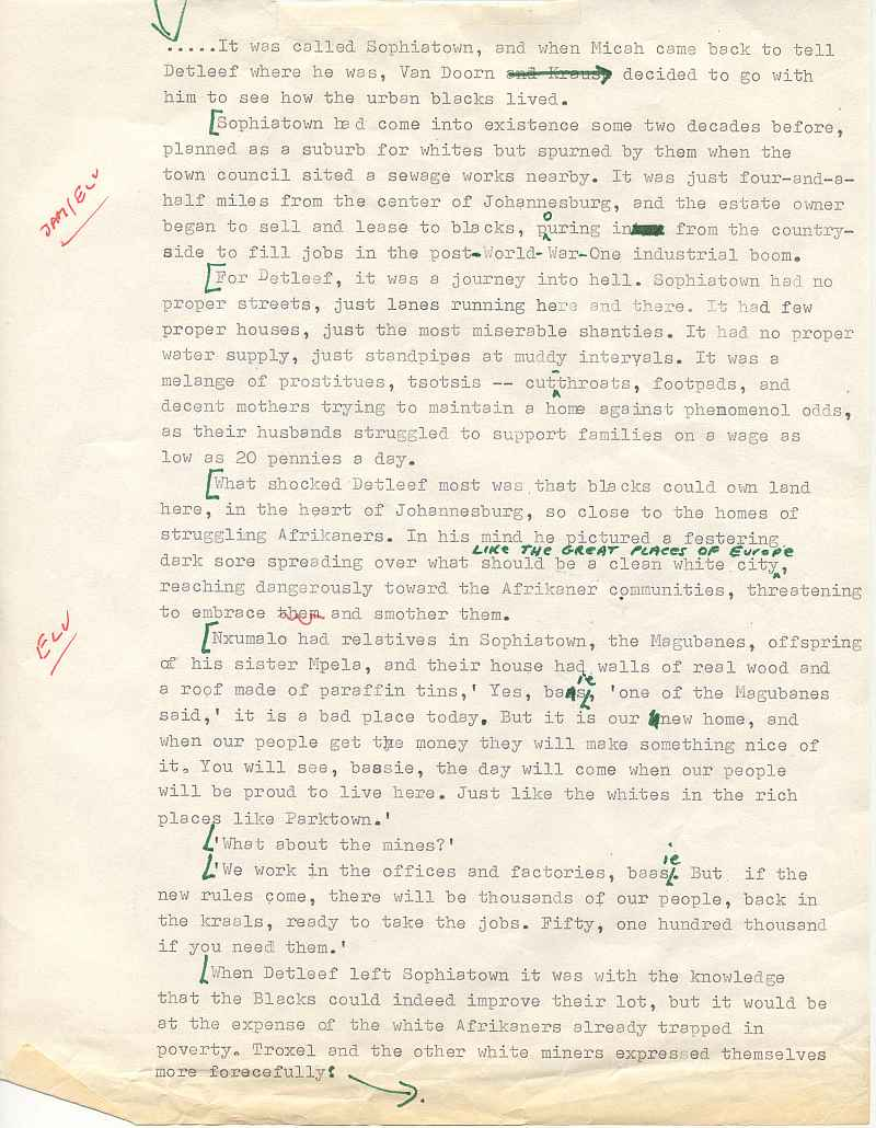 Michener - Covenant - Sophiatown  Uys Draft