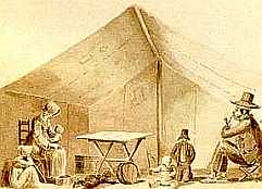 Inside Treklboer Tent, Charles Bell, sketch, SA National Library